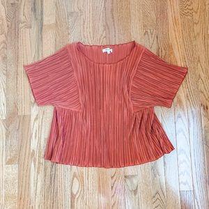 Madewell Burnt Orange Pleated Short Sleeve Top